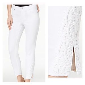 Style & Co White Ankle Jeans Raw Hem Lace Denim